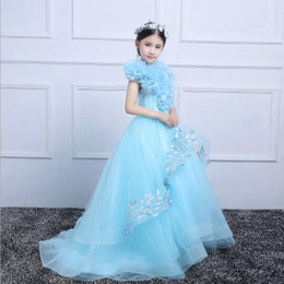 First Communion Tutu Australia - 2019 New Long Trailing Girl Wedding Dresses Elegant Blue Tulle Butterfly First communion Gown Kids Evening Formal Princess Tutu Dress