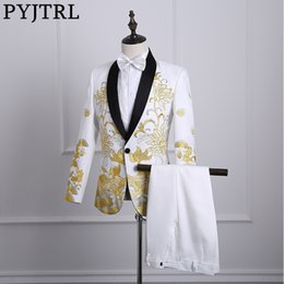 Stage Suits Australia - Pyjtrl Male Shawl Lapel White Black Red Embroidered Prom Dress Stage Singer Costume Homme Mens Suits With Pants Q190517