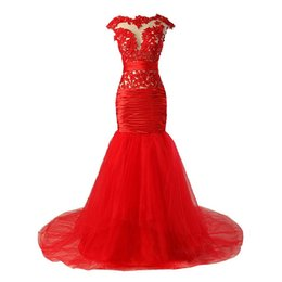 $enCountryForm.capitalKeyWord UK - Red Evening Dresses 2019 Mermaid Cap Sleeves Tulle Lace Beaded Formal Plus Size Long Evening Gown Prom Dresses Robe De Soiree