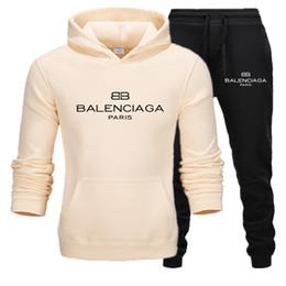 Wholesale running outfits men resale online – Bàlènciàgà tracksuit men fashion print hoodie sweatpants teengers sport suits student casual outfit style sweatsuits autumn jogging men set