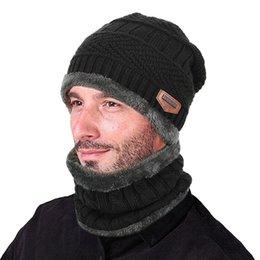 Beanies For Winter Australia - Unisex Winter Beanie Hat Scarf Set Warm Knitted Hat Thick Skull Cap for Men Women