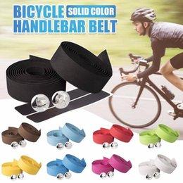 2 piezas de la bicicleta de carretera EVA Cinta de manillar de ciclo de la manija de la correa Camouflagebelt Cork Wrap con Bar Tapones antideslizante absorber el sudor en venta