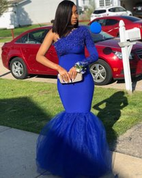 One Strap Lace Dress NZ - Royal Blue Plus Size Mermaid Prom Dresses 2019 With One Shoulder Lace Appliques Sweep Train Custom Made Formal Evening Occasion Gowns Cheap