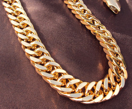 $enCountryForm.capitalKeyWord Australia - Chain Necklaces Heavy Yellow Gold GF Double Curb Chain Mens Huge Necklace 9mm wide thick Not satisfied, 7 days no