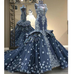 ruffled bottom dresses NZ - Gorgeous 3D Flower Mermaid Prom Dresses Spaghetti Strap Lace Appliques Ruffles Bottom Celebrity Gowns Navy Blue Plus Size Evening Gowns