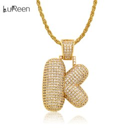 Necklaces Pendants Australia - LuReen GOLD A-M Iced Out Letter Hip Hop Pendant Necklace 24 Inch Micro Pave CZ Dazzling Necklace For Men Women