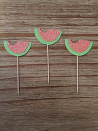 $enCountryForm.capitalKeyWord Australia - Glitter Watermelon Cupcake Toppers birthday rustic Wedding Bridal Shower Engage wedding birthday toothpicks decorations Party Supplies Event