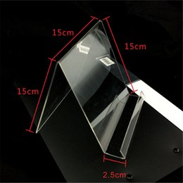 Acrylic Tablet Stand UK - Acrylic iPod Tablet display Stand Holder Clear V Type Book Bookboard Display Rack Shelf Bracket Cell phone Accessories Free DHL