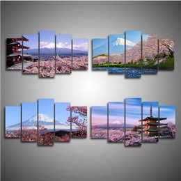 $enCountryForm.capitalKeyWord Australia - 5PCS Framed Wall art Mount Fuji and Cherry Blossoms Tree Modern Wall Art Pictures for Living Room Decor Posters and Prints Canvas Painting
