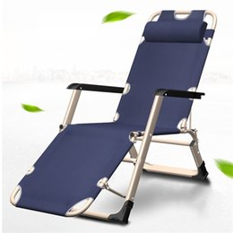 Leisure chairs online shopping - Folding Bed Deck Chair Outdoor Reinforce Office Noon Break Portable Beach Camp Leisure Multi Functional Hot Sale lxf1