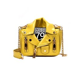 Wholesale black gold leather jacket women for sale – winter Oeak European Fashion Motorcycle Bags Jacket Shape Shoulder Messenger Bag PU Leather Handbag