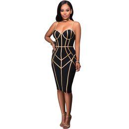 8133dafc71b0 2019 New Fashion Sexy Women Spaghetti Strap Dress Stripe Print Zipper Back  Clubwear Cocktail Party Elegant Midi Dress Black