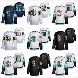 Опт Сиэтл Kraken 2021 Главная Голубая дорога Белый Черный Белый Золотой выпуск хоккей Джерси 32-я Новая команда на заказ Главная Дорога Джерси 4XL Мужчины Женщины Молодежь