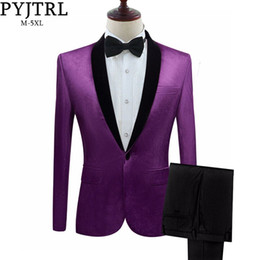 $enCountryForm.capitalKeyWord Australia - Pyjtrl Mens Green Purple Pink Blue Gold Red Black Velvet Suits With Pants Wedding Groom Singers Prom Dress Suits Costume Homme