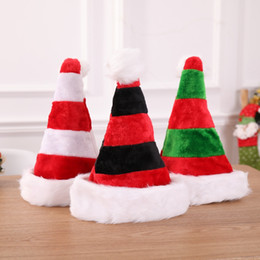 Cutlery bags online shopping - 3styles Christmas Striped Xmas Hat Decorations Red Santa Claus Bag Cutlery Bag Party Decor Christmas plush Hat Ornaments kids gift FFA2848