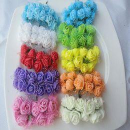 $enCountryForm.capitalKeyWord Australia - Wholesale-144pcs Diameter 2-2.5CM head Multicolor PE Rose Foam Mini artificial silk Flowers Bouquet Solid Color