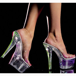 Low Priced Crystal Lighting NZ - low price 15cm flasher light shoes Inch high-heeled shoes sandals cd stripper multi Fetish Crystal