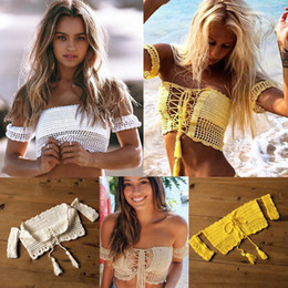 Hand Crocheted Swimwear Australia - Hand Women Sexy Bikini Crop Top Beach Crochet Top Off Shoulder Swimwear Lady Bathing Suit Clothing