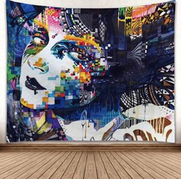 $enCountryForm.capitalKeyWord Australia - Colored Drawing 3D Creative Pattern Tapestry Ployester Wall Hanging Tapestry for Wall Decoration Fabric Home Background Cloth Yoga Mats H379