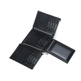 Rfid Print Australia - RFID Blocking Genuine Leather Card Holder Men Black Wallets for Men 14 Card Slots Multifunction Solid Trifold Leather Purse Male #160106