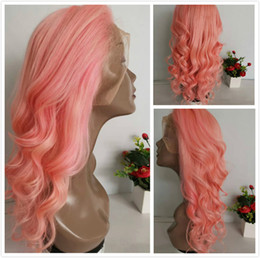 $enCountryForm.capitalKeyWord Australia - Cute Pink Glueless Wig Pre Plucked Brazilian Loose Wave Human Hair Full Lace Wigs For Black Women Colored Pink Wavy Braided Lace Front Wig