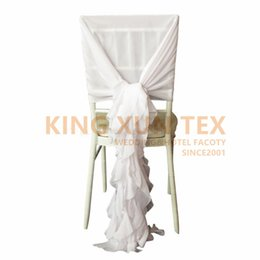 $enCountryForm.capitalKeyWord Australia - White Color Chiffon Chair Cover Cover Hood With Ruffles Willow Chair Covers For Wedding Decoration