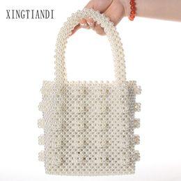Discount blue beaded evening purses - handmade pearl bag top-handle purse beaded bag evening luxury handbags for wholesale Vintage