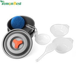 fry pans set NZ - Outdoor Camping Cooking Pots And Pans Set Cookware Mess Kit 9 Piece Backpacking Gear Hiking Cook Set Bowls Spoon With Oxford Bag