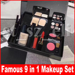 $enCountryForm.capitalKeyWord Canada - Famous Makeup Set 9 piece set Blush powder with brush Liquid foundation lipstick lipgloss eyeshadow palette eyeliner 9 in 1 make up kit