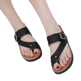 Chinese  Women's Clip Toe Comfortable Metal Belt Buckle Sandals Comfortable Flip Flop Metal Belt Sandals Buckle Summer Beach #g4 manufacturers