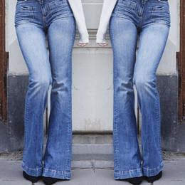 58e4f7a225315 Nouveau Mode Femmes Mesdames Skinny Flare Denim Jeans Bell Bottom Stretch Taille  Haute Zipper Pantalon Pantalon Plus La Taille L-3XL