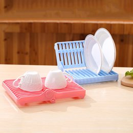 plastic storage organizers Canada - Kitchen Foldable Dish Plate Drying Organizer Holder Drainer Rack Plastic Storage