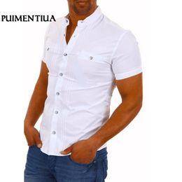 shirt man short button 2019 - Puimentiua Men Casual Shirts Solid Short Sleeve Cotton Button Down Dress Shirts Turn Down Collar Male Slim Fit Office Pa