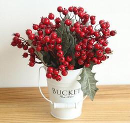 Folk Art Christmas Australia - 3pcs Free Shipping Artificial Fruit Mini Red Berries Fake Flowers For Home Garden DIY Decor Christmas Decor Cherry Fruit