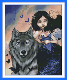 Wholesale Wolf and girl beautiful decor paintings ,Handmade Cross Stitch Embroidery Needlework sets counted print on canvas DMC 14CT  11CT