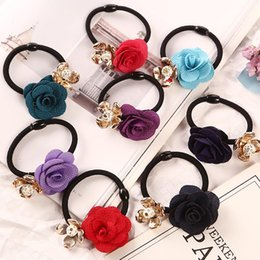 White Pink Mix Rose Flower Australia - 1PC Gold Plated Crystal Rose Flower Hair Rubber Bands Black Elastic Gum Headwear Women Girl Ponytail Holders Hair Accessories