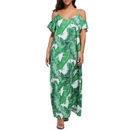 Best Canvas Prints UK - 2019 Best selling Womens Floral Leaf Printed Strapless Dress Ladies Summer Beach Sling Loose Dress Bohemian style ladies dress