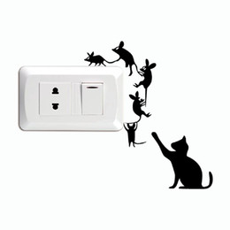 Large mouse waLL stickers online shopping - Cat Creative Cat Catch Mice Switch Sticker Funny Cartoon Animal Vinyl Wall Stickers