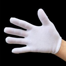 cotton chenille wholesale NZ - Cotton White Gloves Elastic Nylon Yarn and Cotton Labor Working Gloves Hand Security Safely Protection Cover White