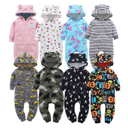 Hooded Jumpsuit Green Australia - Soft Baby Rompers Newborn 6-24m Baby Boy Clothes Warm Fleece Kids Girl Jumpsuits Hooded Infant Girl Rompers Toddler Costumes Y19061201