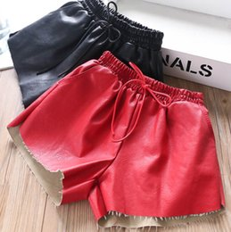 girl up short Australia - Fashion kids shorts girls PU leather casual shorts children lace-up Bows elastic waist loose comfortable shorts fall new girl clothes F9944