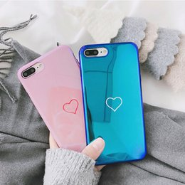 Case Tpu Heart Australia - Luxury Blu-Ray Love Heart Mirror Phone Case For iPhone 6 6S 7 8 Plus Soft TPU Back Cover Cases for iPhone X