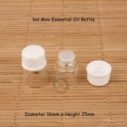 essential oil jar wholesale Australia - 200pcs lot Wholesale 1ml Mini Glass Essential Oil Bottle Small Dropper Vial 1 30OZ Refillable Cosmetic Packaging Test Jar