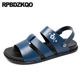 e7e455fb5c6e4 Men Gladiator Sandals Summer Brown Casual Flat Sneakers Slippers Runway  Leather Breathable Slip On Slides 2018 Roman Shoes Blue