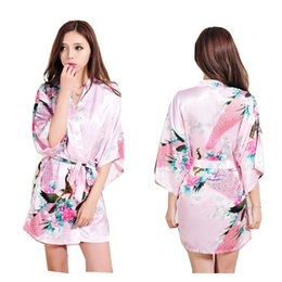 floral print bridesmaids dresses Canada - YUXINBRIDAL Women Printed Floral Bride Bridesmaid Robe Kimono Dress Gown Silk Satin Robe Bridal Nightgown Flower Bathrobe Ladies