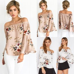 Off Shoulder Blouse Cotton Australia - Casual Blouse Loose Sexy Women's Off Shoulder Tops Long Sleeve Shirt Flower