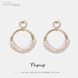 Copper Earrings Australia - Yhpup Trendy Beautiful Crystal Imitation Pearls Dangle Earrings Round Copper 16 K S925 Silver Pin for Women Wedding Jewelry Gift