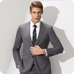 06ce5d5aff416 Slim office clotheS men online shopping - Grey Men Suits Formal Business  Man Blazers Jacket Two