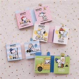 stationery planners notebooks NZ - Creative Cute Snoopys Cartoon Six-fold Memo Pad N Times pasted Sticky Notes Planner Stickers Kawaii notebook Student Stationery