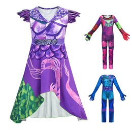 World dresses online shopping - Fancy Halloween Clothing for Girl Descendants Mal Dress Wicked World Villain Evie Audrey Jusmpsuit Cosplay Descendants Costume